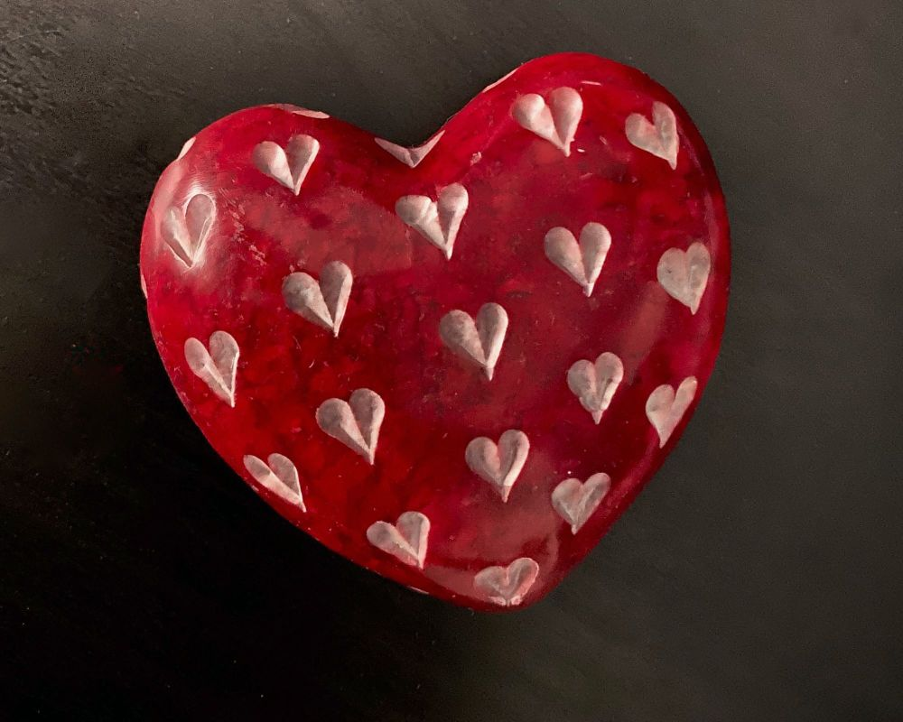 HANDCARVED RED HEART STONE