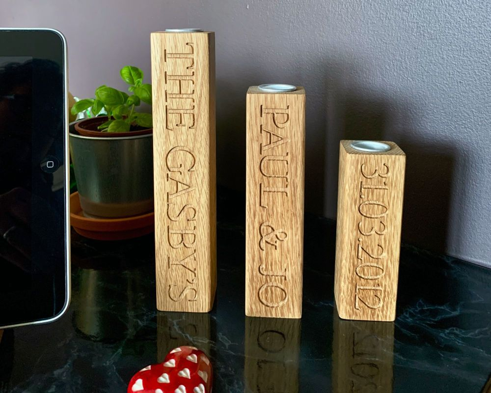 PERSONALISED SOLID OAK CANDLE STICKS