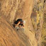 Climbing a new route in Mali