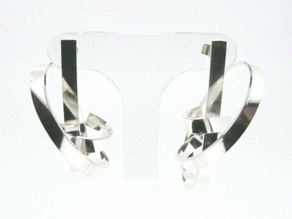 Silver Manic Ribbon Earrings