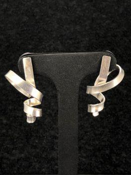 Silver Ribbon Earrings
