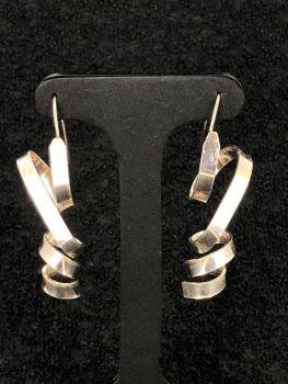 Silver Wire Ribbon Earrings