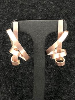 Silver/Rose Gold Manic Ribbon Earrings