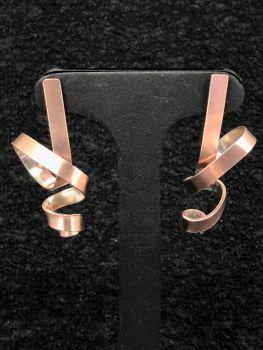 Silver/Rose Gold Ribbon Earrings