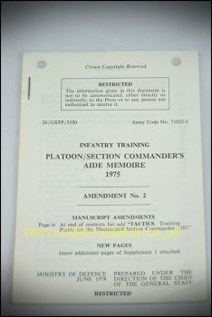 Platoon/Section Commander's Aide Memoire 1975