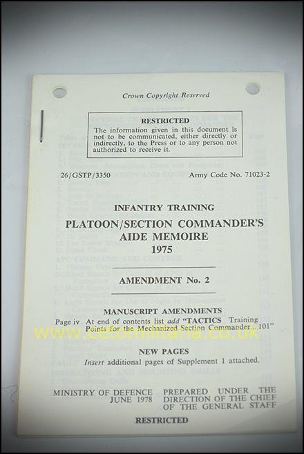 Platoon/Section Commander's Aide Memoire 1975