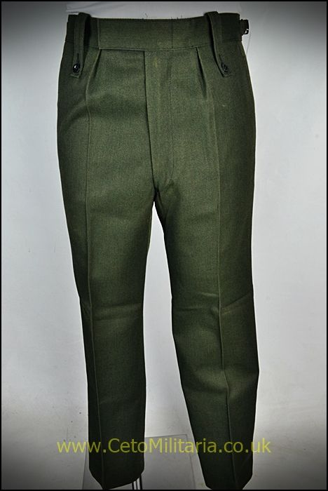 Barrack Trousers, Green, Button-Loops (Used)