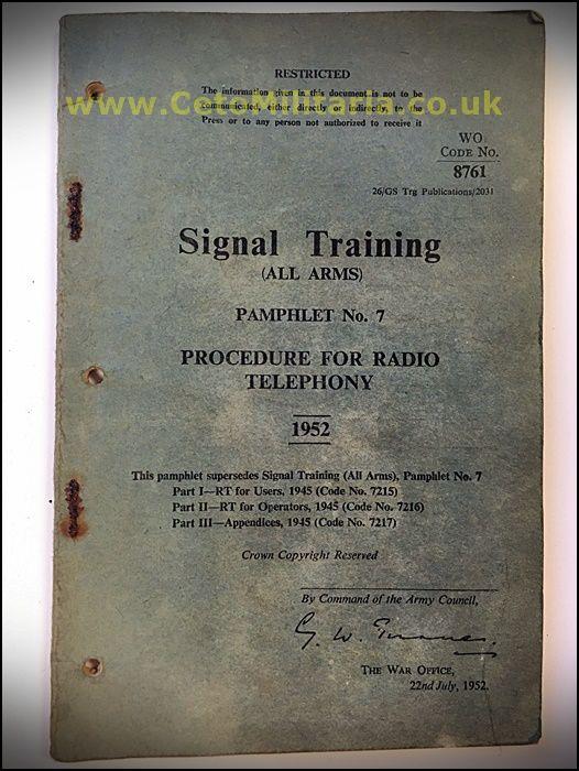 Signal Training, RT Procedure 1952