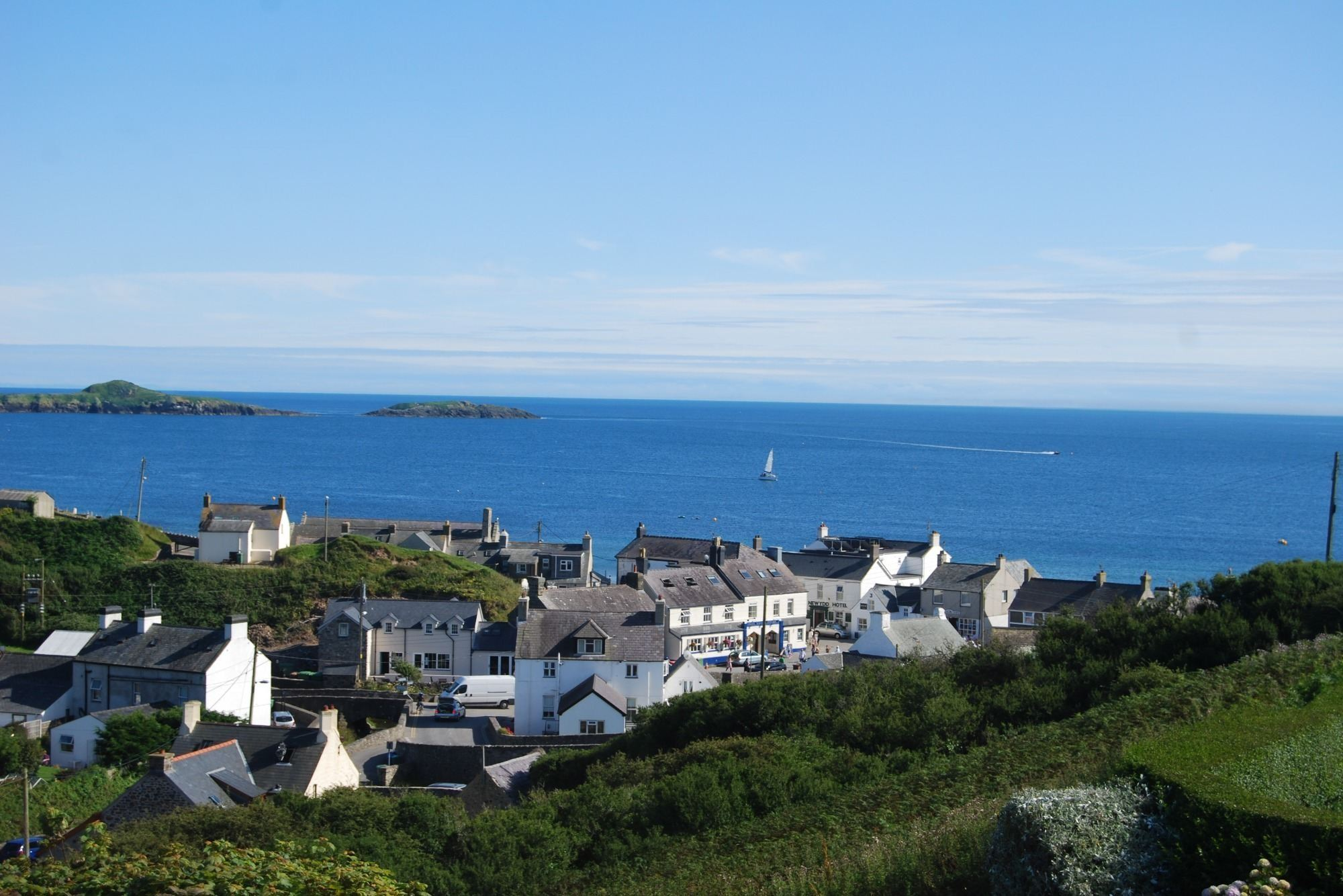 View across Aberdaron and Cardigan Bay from Hafan