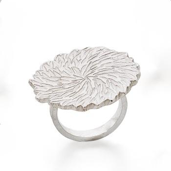Big Silver Dahlia ring