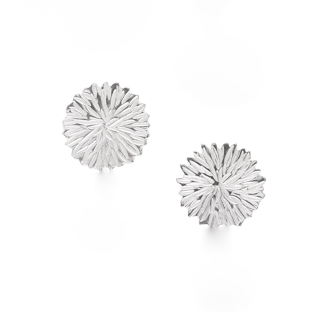 Silver Dahlia Big Stud Earrings