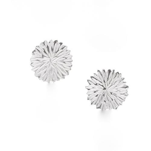 Silver Dahlia Big Stud Earrings