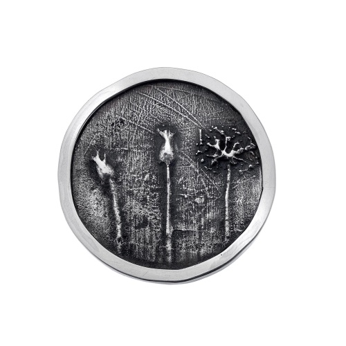 Round seed-head silver brooch