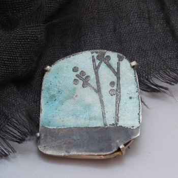At the Edge of the the Forrest Brooch - blue enamelled brooch