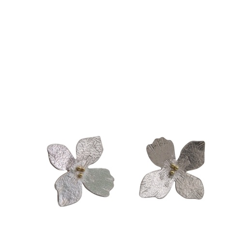 Silver hydrangea earrings with gold
