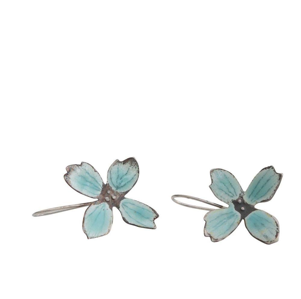 Light blue enamelled silver flower hook earrings