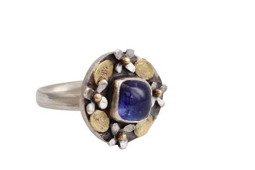 Square stone tanzanite ring
