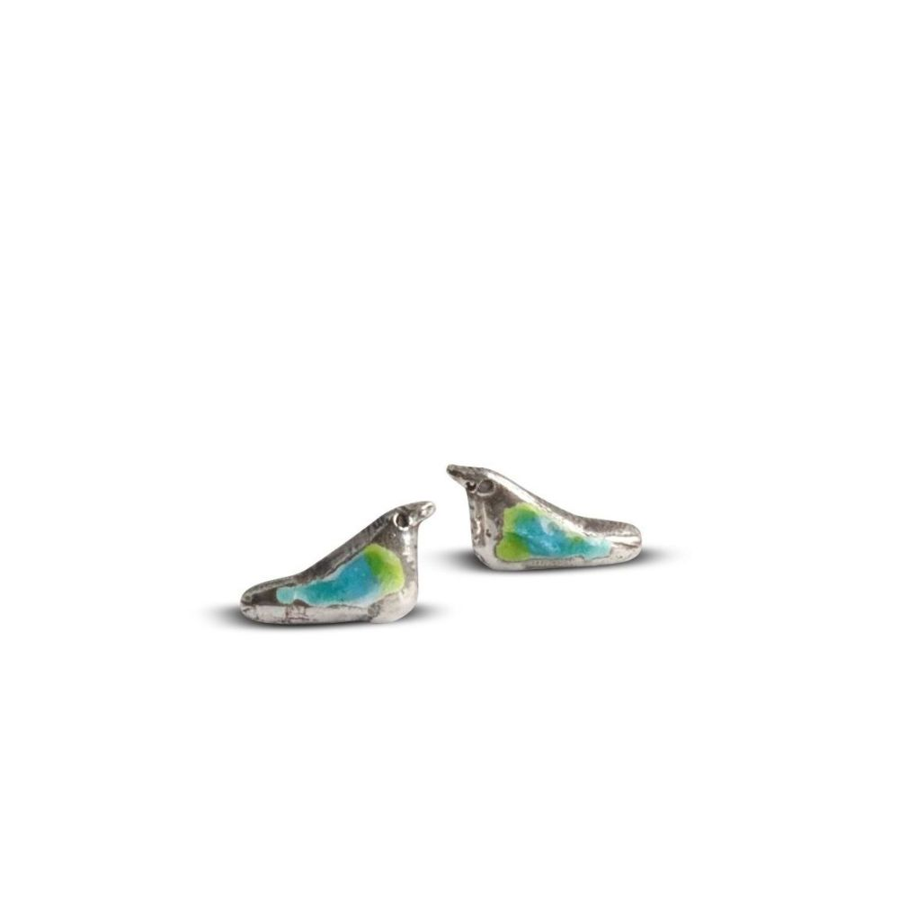 Silver Bird studs with enamel