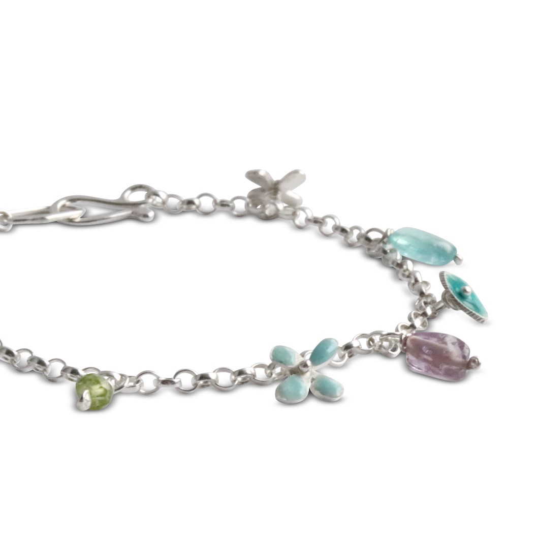 Enamel and Gemstone Silver Bracelet