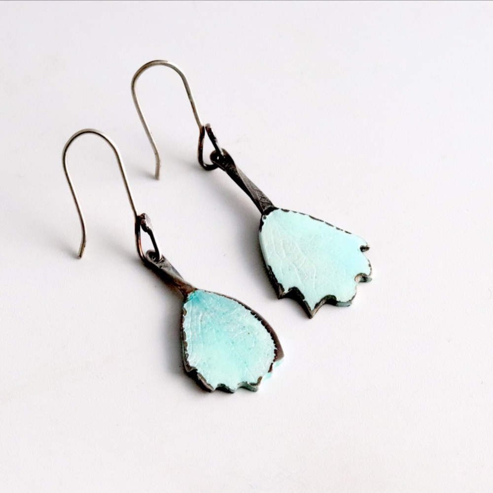 Enamelled petal earrings