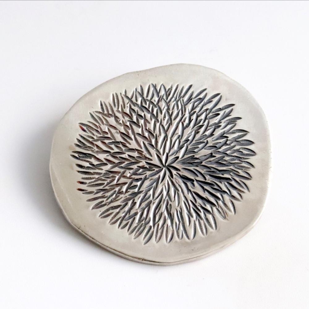 Silver dahlia brooch