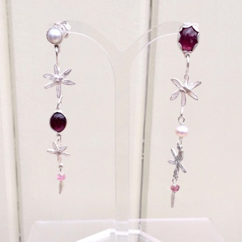 Pink Tourmaline, Flowers and Pearls Earrings