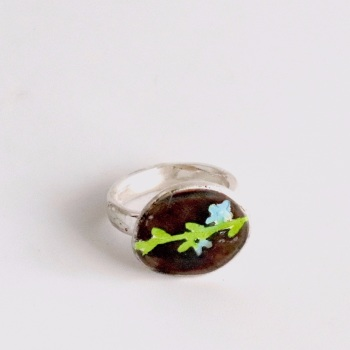 Enamelled Ring with Blue and Green Flower Design