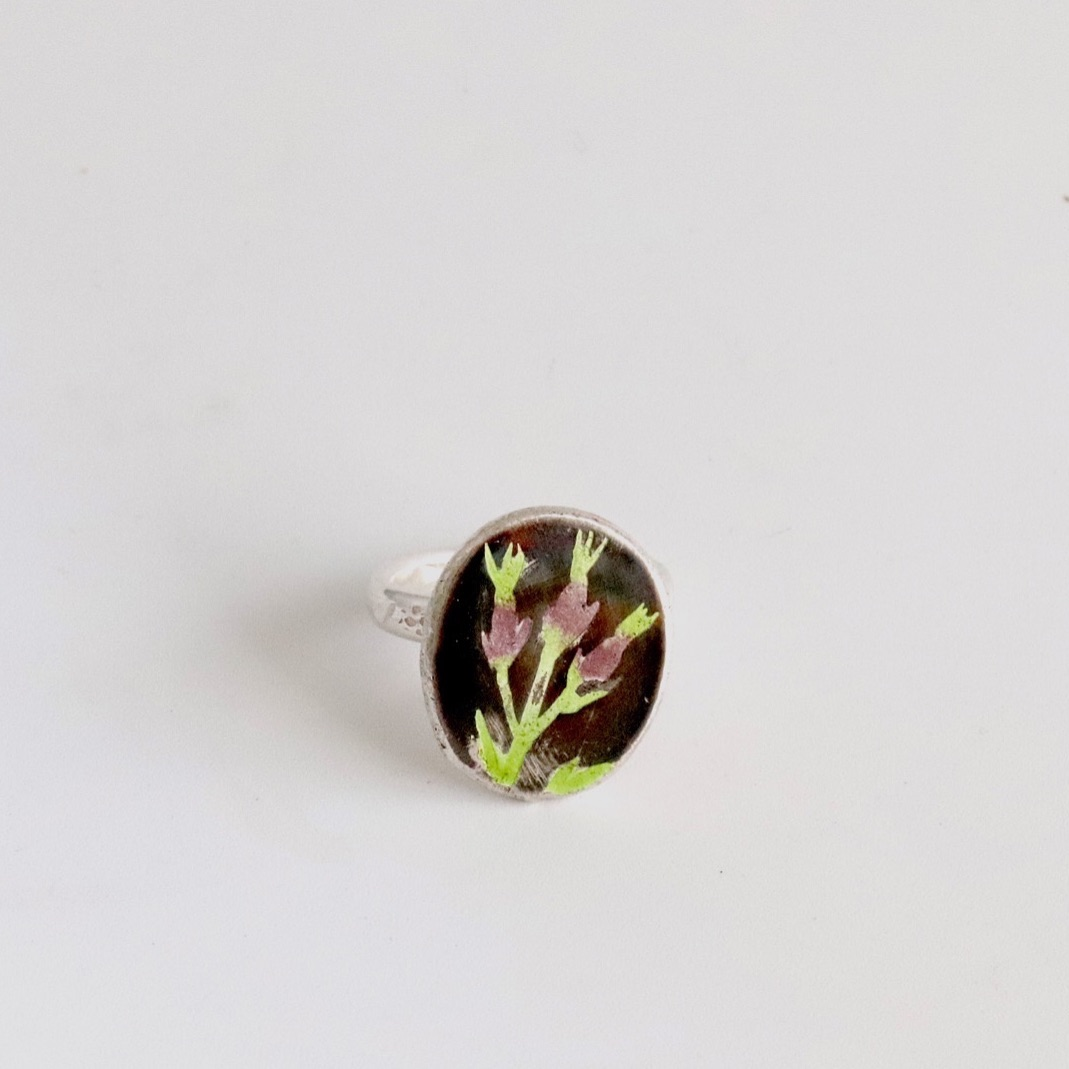 Enamel thistle ring  plum