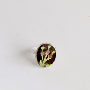 Thistle Enamelled Ring in Plum and Green Colours