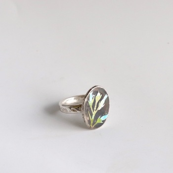 Thistle Enamelled Silver Ring in Blue and Green