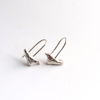Silver Bird Hook Earrings