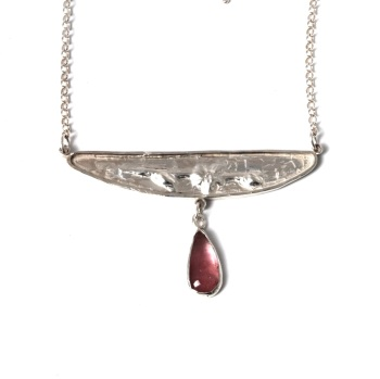 Silver Flower Sprig  Necklace with Pink Tourmaline Drop