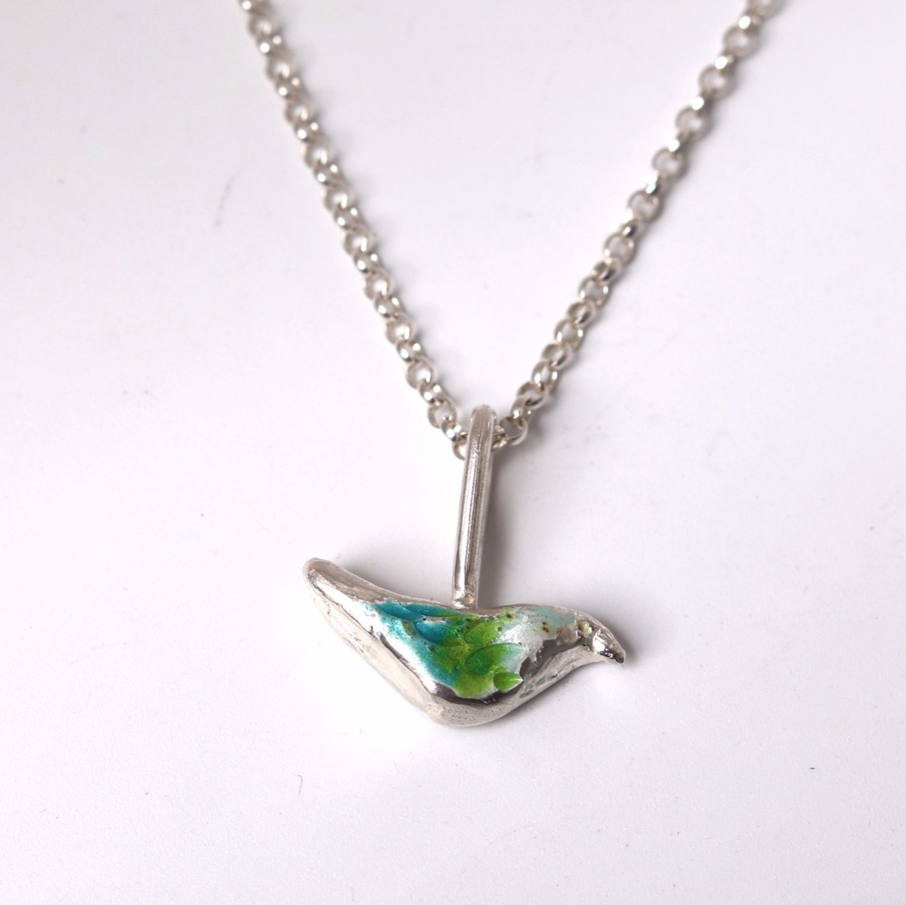 Enamel bird necklace with oxidised finish