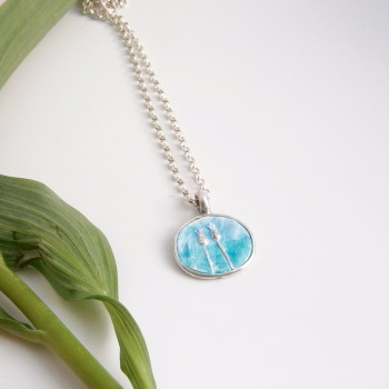 Double Sided Enamelled Necklace with Seed-heads and Flowers