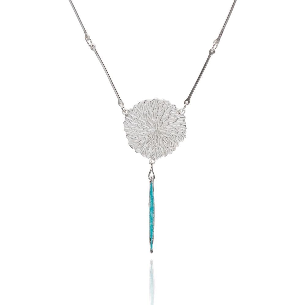 Dahlia necklace with enamel drop