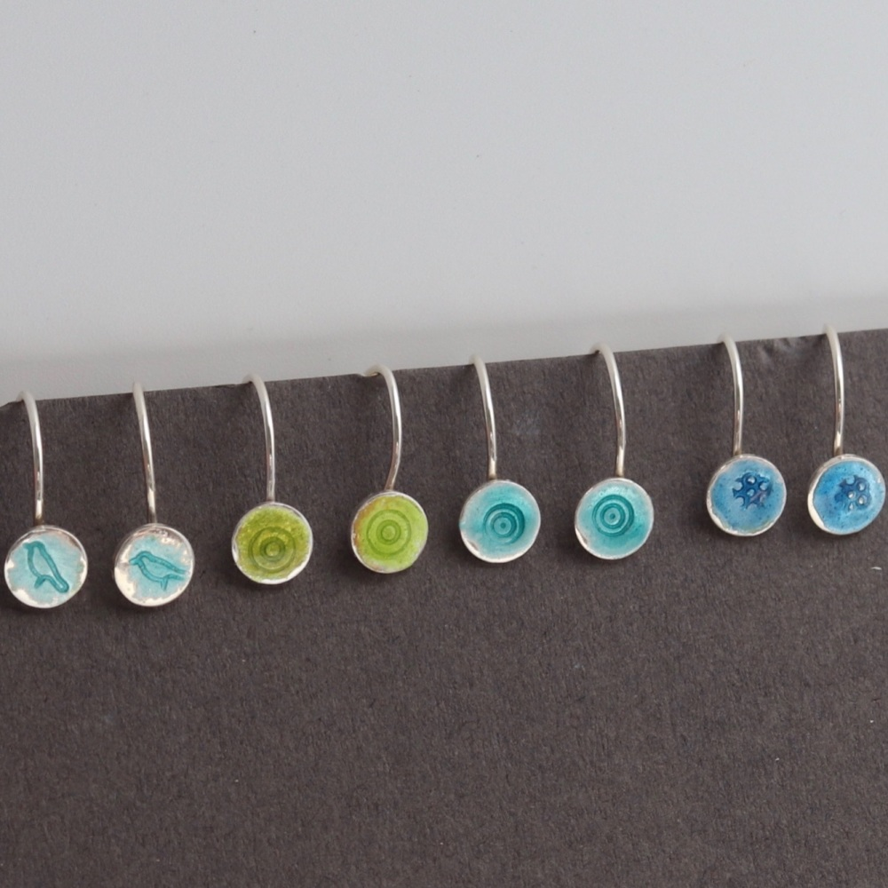 Tiny enamelled hook earrings