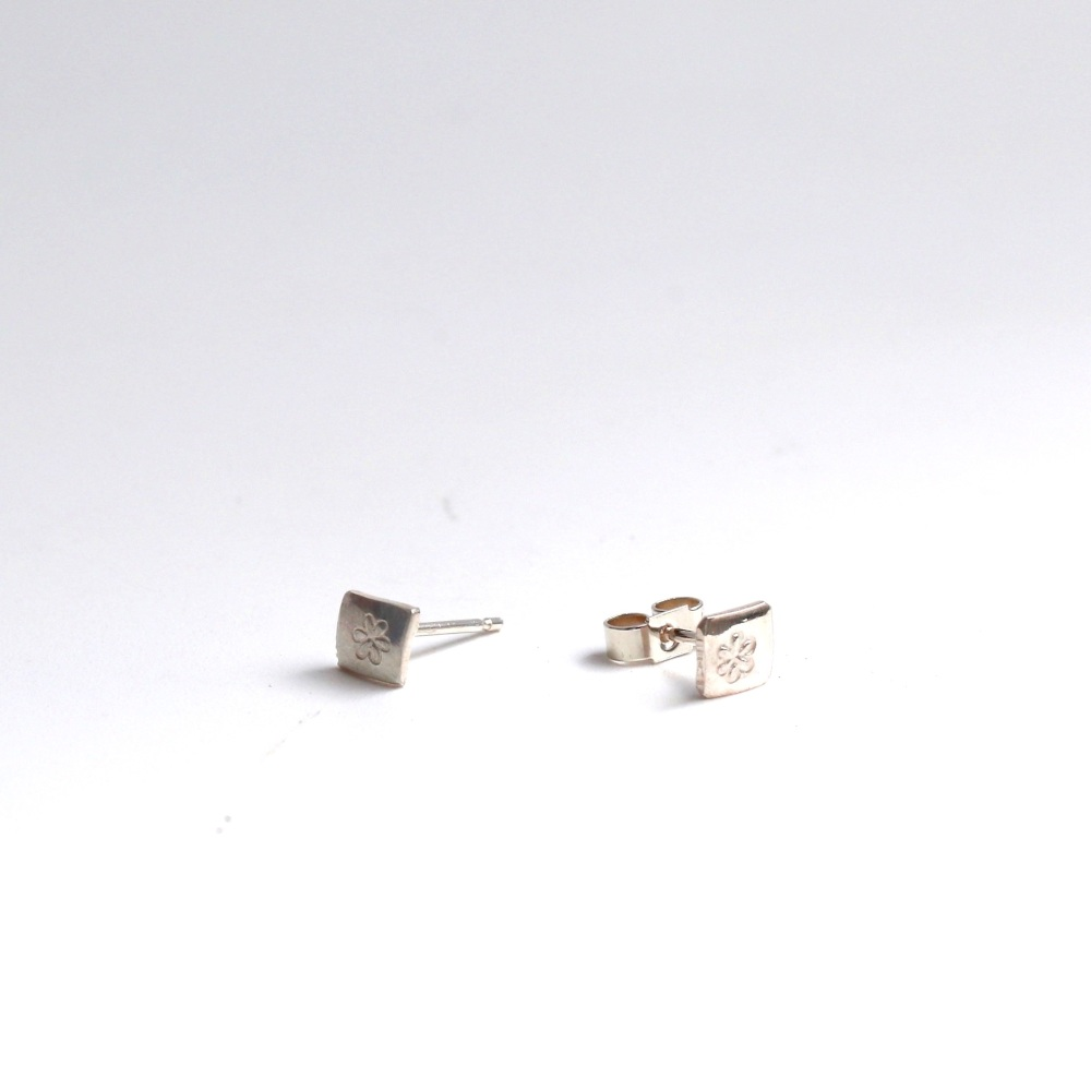 Tiny Silver square studs