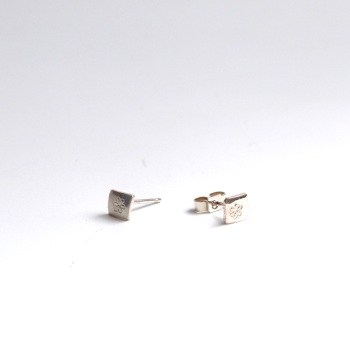 Tiny Silver Square Studs