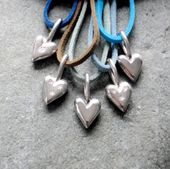 Silver Heart Charm on Cord