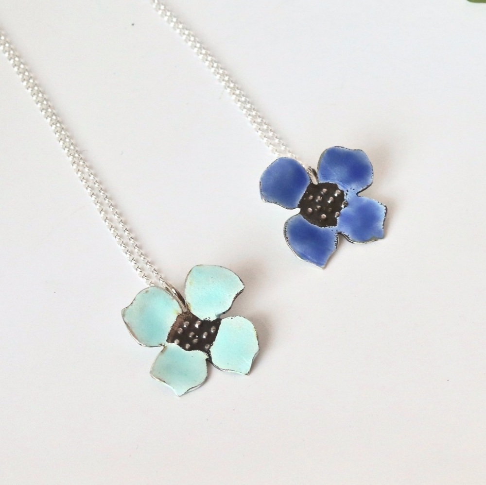 Blue flower Hydrangea Necklace