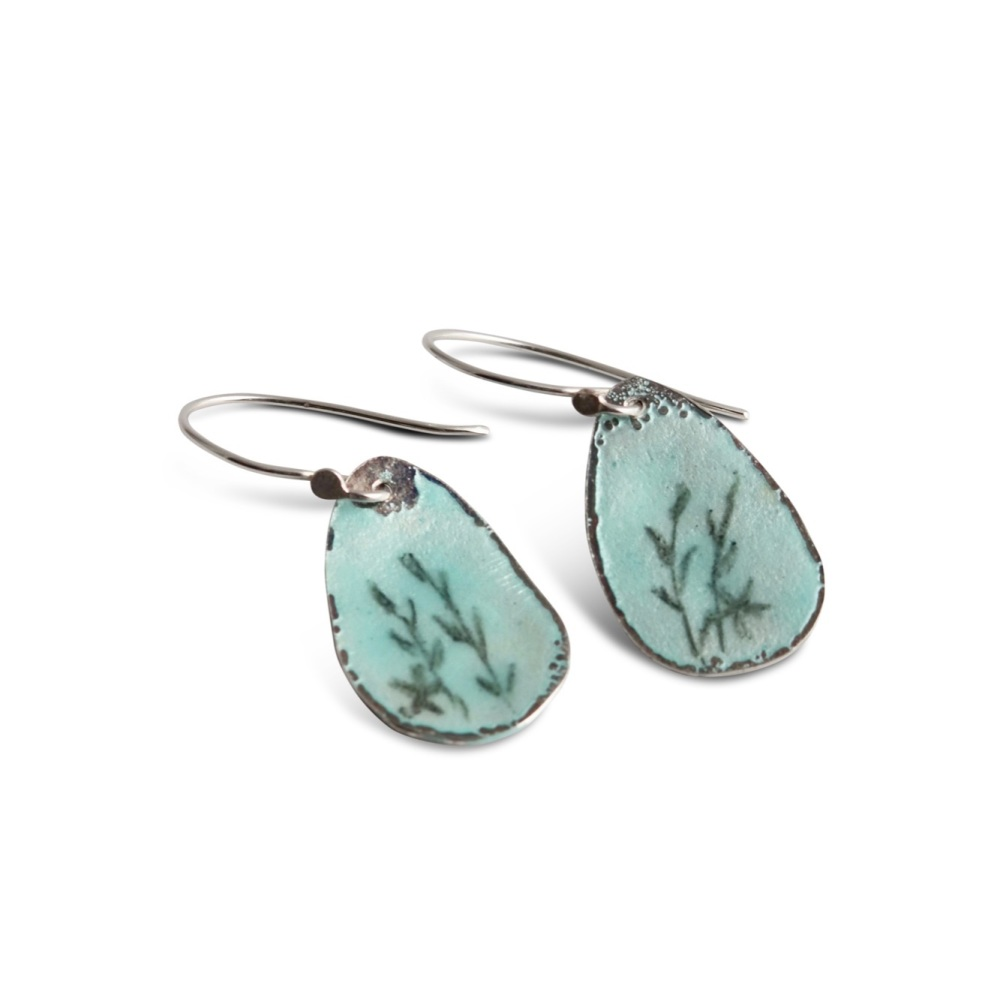 Pale blue silver drop earrings with blossom flower design