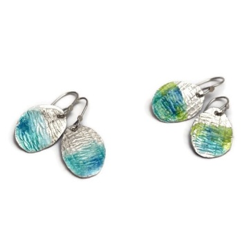 By the Sea Silver Enamelled Earrings