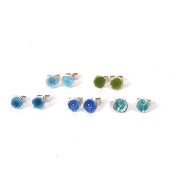 Colourful Blues and Greens Enamel Silver Studs