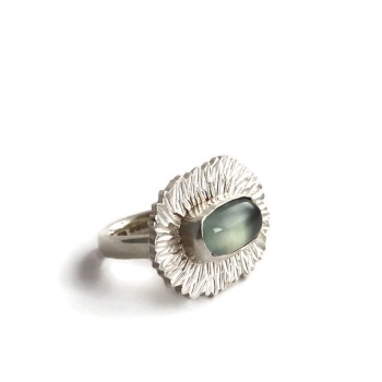 Oval Aquamarine Stone Set Silver Ring with Textured Silver Surround