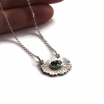 Textured Silver Necklace with Oval Green Tourmaline Gem