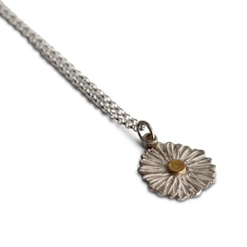 Textured Silver Daisy Necklace with Gold Centre