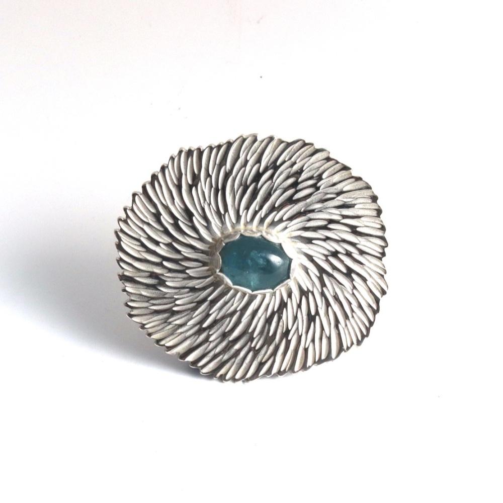 Solid Silver Textured Statement Flower Brooch with Aquamarine Gemstone