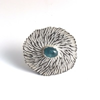 Solid Silver Textured Statement Flower Brooch with Aquamarine Gemstone