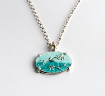 Silver and Blue Enamel Blossom by the Sea Necklace