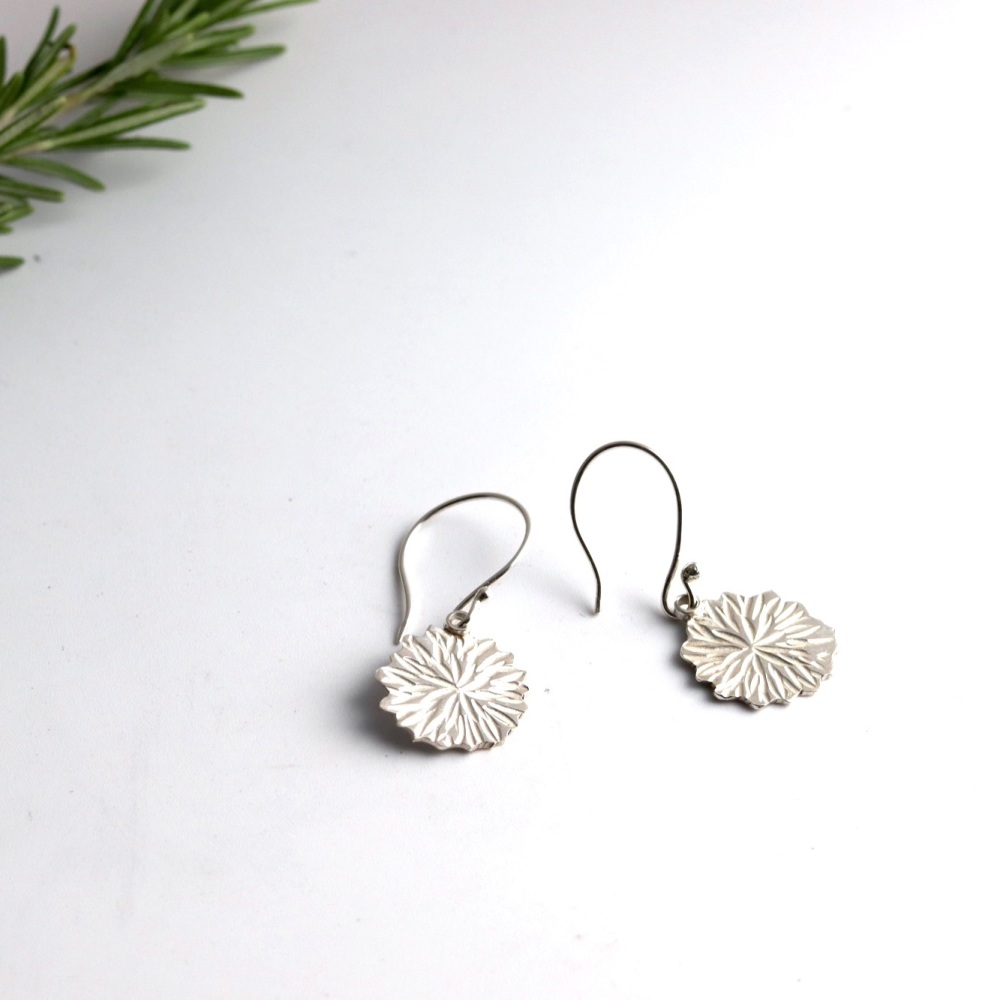 Silver Textured Disc Drop Flower Shaped Earrings
